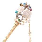 Happy Hours - Crystal Rhinestone Bead Hair Clasp For Women and Teen Girl / Natural Shell Alloy Flower Design Hair Pins Stick With Dangle Tassel Pendant