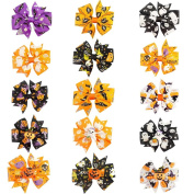 CN 7.6cm Colourful Halloween Pumpkin Grosgrain Ribbon Pinwheel Boutique Smurfs Hair Bows With Clip For Baby Girls Kids Teens Toddlers Chirldren - Best for Halloween - 15 Pieces Mix