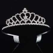 FUMUD Bridal Wedding Crystal Rhinestone Crown Heart Crown Pageant Silver Plated Women Children Tiaras Hair Comb Headband