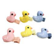 6pcs Handmade Baby Girls Duck Hair Clip Lovely Three Colour Cartoon Hair Clips Baby Toddler Hair Bow Clip Set