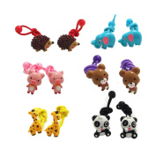 12Pcs Cute Animal Little Girl Hair Holder Girl's Hair Rope Ponytail Kids Holder Elastic Six Animal