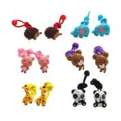 12Pcs Cute Animal Little Girl Hair Holder Girl's Hair Rope Ponytail Kids Holder Elastic Six Animal