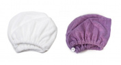 Mimi's Diva Darling by Aquis Patented Design White Microfiber Hair Turban, Set of 2 - White & Purple