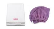 Mimi's Diva Darling by Aquis Microfiber 48cm x 100cm Hair White Towel and Microfiber Patented Design Hair Turban - Purple