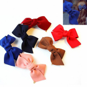 FESHFEN 6 Pcs/Set Fabric Hair Bow Hair Accessories Hairpin Spring Clip Ponytail Holder Clip Head Ornaments Hairpin Top Folder