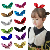 FEITONG 12PCS Big Bow Knot Children Girl Barrettes Rabbit Ear Hairband Hairpin