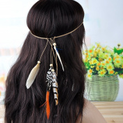 Lureme® Bohemia Style Headwaer Colourful Pheasant Feather with Wood Bead Headband for Women