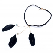 Lureme® Bohemia Style Metal Chain with Crystal Feather Headband for Women Headwear