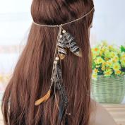 Lureme® Bohemia Style Pheasant Feather with Wood Bead Headband for Women