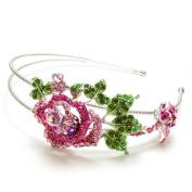 Beautyxyz Rose Flower Austrian Crystal High Quality Metal Roses Headband