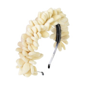 . Velvet Garland Crown Wreath Headband - Cream