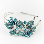 Beautyxyz Fashion Crystal Rhinestone Silver tone metal big Flowers design Headband