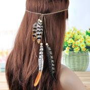 Lureme® Bohemia Style Simple Fleck Pheasant Feather Weave Chain Headband for Women