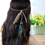 Lureme® Nation Style Pheasant Feather and Peacock Feather Weave Chain Headband for Women
