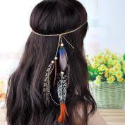Lureme® Bohemia Nation Style Long Pheasant Feather Headband for Women Headwear