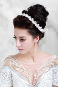 Lace Beaded Rhinestone Crystal Seed Bead Sequin Bridal Wedding Tiara Headband