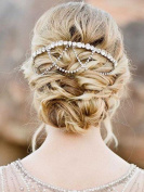 Venusvi Handmade Vintage Shell Flower Crystal Wedding Bridal Hair Vines Headband