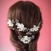 White Pearl Rhinestone Acrylic Leaf Wedding Bridal Silver Plated Hairpin New