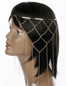 Head Jewellery ~Fringe Metal Head Piece Goldtone Head Chain Hair Band