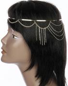 Head Jewellery ~Fringe Metal Head Piece Goldtone Head Chain Hair Band