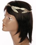 Head Jewellery ~ Textured Metal Leaf Wreath Goldtone Head Chain Hair Band