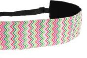 Mavi Bandz Adjustable Non-Slip Fitness Headband in Wide 3.8cm Chevron - Multi