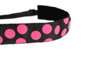 Mavi Bandz Adjustable Non-Slip Fitness Headband Polka Dots - Pink and Black