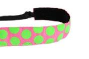 Mavi Bandz Adjustable Non-Slip Fitness Headband Polka Dots - Lime and Pink