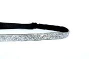 Mavi Bandz Adjustable Non-Slip Fitness Headband Skinny Sparkle 1cm - Silver