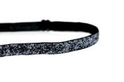 Mavi Bandz Adjustable Non-Slip Fitness Headband Skinny Sparkle 1cm - Charcoal