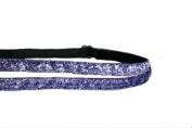 Mavi Bandz Adjustable Non-Slip Fitness Headband Double Sparkle 1cm - Purple