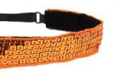 Mavi Bandz Adjustable Non-Slip Fitness Headband Sequin - Orange
