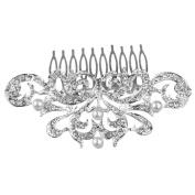 WINOMO Women's Bridal Wedding Crystal Rhinestones Decor Flower Style Hair Comb Clip Hair Pin Hair Accesories