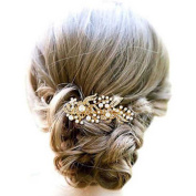 Venusvi Golden /Silver Pearl Flower Hair Comb for Wedding Party Hair Jewellery