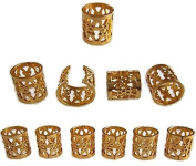 Dreadlock Beads for Hair, Braids, and Locs, 50 pieces, by Lock Love in Gold Metal Filigree Cuff for Men or Women