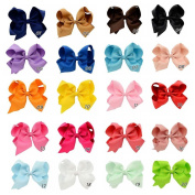 Hair Bows , Ambielly 20Pcs Baby Girl Headbands Grosgrain Ribbon 10cm Large Boutique Hair Bows Alligator Clips For Teens Kids