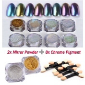 NICOLE DIARY Mirror Powder Sequins Chrome Pigment Glitters DIY Brushes Nail Art Decoration