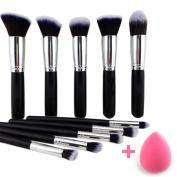 10+1 Pieces Premium Synthetic Makeup Brushes Set Professional kabuki Brush Set Powder Brush for Makeup brush kit with Blender Sponge