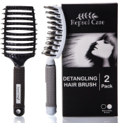Detangling Boar Bristle Hair Brush for Blow Drying - Vented, Curved and Oversized Head - Stimulates Natural Hair Oils and Massages Scalp - for Women Long, Thick, Thin, curly & Tangled Hair