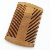 Beautyours Natural Green Sandalwood Beard Comb Pocket Fine & Coarse Teeth Dual Brush for Moustache Anti-Static