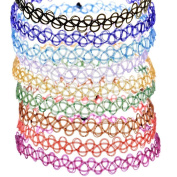 Ewandastore Henna Choker Necklace,Assorted 5 Colour Vintage Stretchable Gothic Tattoo Choker Hippy Elastic Pendant Necklace for 80s 90s