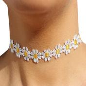 Ewandastore Lace Daisy Flower Choker Bib Collar Chain Necklace Boho 80s 90s