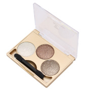 3-Colour Glitter Shimmer Shining Pearl Highlighting Eyeshadow Pigments Makeup Cosmetic Eye Shadow Palette with Double Ended Sponge Brush Style 1