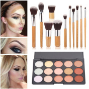 Mefeir 15 Colours Cosmetics Cream Contour-Contouring Foundation Concealer Palette+11 PCS Makeup Brush Set Cosmetic Bamboo Handle with a brush bag