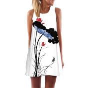 Orangeskycn Vintage Boho Women Summer Sleeveless Beach Printed Short Mini Dress