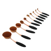 Mermaid 10 Pcs Oval Foundation Brush Set Soft Toothbrush Makeup Tool Powder Blush Concealer Cream Contour Make Up Cosmetic Brush