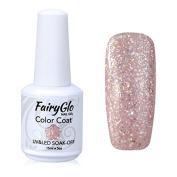 FairyGlo Long Kept Gelpolish Soak Off Gel Nail Polish UV LED Nail Art Manicure Lacquer Decor Kit 15ml Shimmer Pink 1353