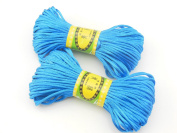6Bundles 130Yards 2.5MM Lake Blue Polyester Rattail Satin Cord for Chinese Knotting Cord & Jewellery Making