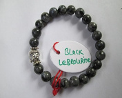 WholesaleGemShop - Black Lebrourite 8 mm Bead Buddha Bracelet