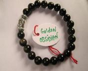 WholesaleGemShop - Golden Obsidian 8 mm Bead Buddha Bracelet